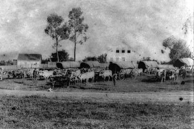 A praça Santos Andrade em 1886. Mesmo perto da região central da época, a paisagem ainda era rural. (Foto: Acervo Casa da Memória)
