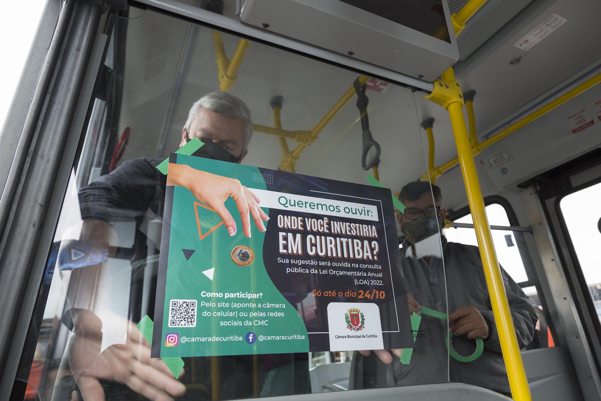 Inédito, Câmara divulga consulta pública da LOA 2022 nos ônibus de Curitiba